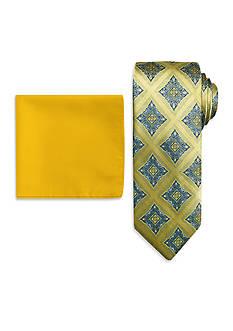 Steve Harvey Medallion Neck Tie and Solid Pocket Square