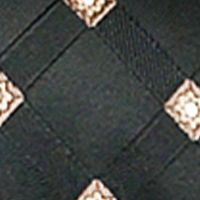 Men: Steve Harvey Accessories: Black Steve Harvey Satin Grid Tie & Brocade Pocket Square