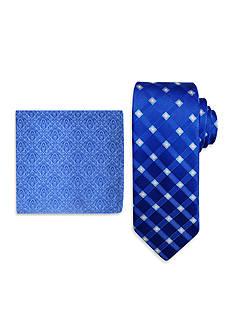 Steve Harvey Satin Grid Tie & Brocade Pocket Square