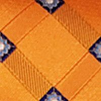 Men: Steve Harvey Accessories: Orange Steve Harvey Satin Grid Tie & Brocade Pocket Square