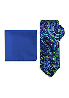 Steve Harvey Paisley Tie and Solid Pocket Square