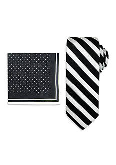 Steve Harvey Satin Striped Tie and Dot Pocket Square