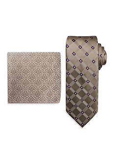 Steve Harvey Extra Long Satin Grid Tie and Brocade Pocket Square