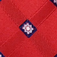 Steve Harvey® Men Sale: Red Steve Harvey Extra Long Satin Grid Tie and Brocade Pocket Square