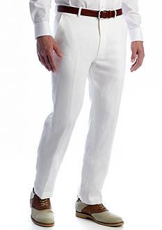 Classic Fit Linen Flat Front Pants