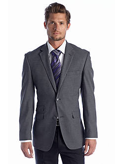 Perry Ellis Slim Fit Gray Solid Sharkskin Suit Separate Coat