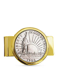 American Coin Treasures 1986 Statue of Liberty Commemorative Half Dollar Coin in Gold Tone Money Clip Coin Jewelry