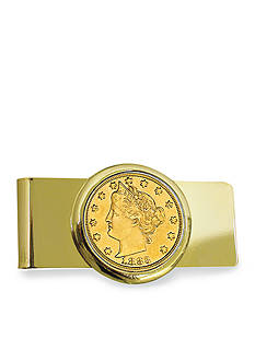 American Coin Treasures 1883 First Year of Issue Gold Layered Liberty Racketeer Nickel Gold Tone Money Clip