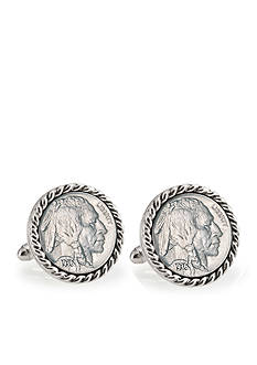 American Coin Treasures Buffalo Nickel Silver Tone Rope Bezel Cufflinks