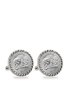 American Coin Treasures 2005 Bison Nickel Silver Tone Rope Bezel Cufflinks