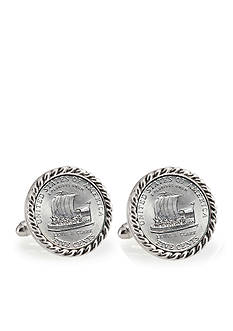 American Coin Treasures 2004 Keelboat Silver Tone Rope Bezel Cufflinks