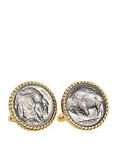 American Coin Treasures Buffalo Nickel Gold-Tone Rope Bezel Cufflinks