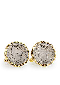 American Coin Treasures 1800's Liberty Nickel Gold Tone Rope Bezel Cufflinks