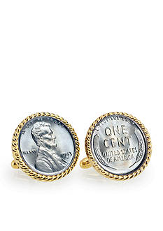 American Coin Treasures 1943 Lincoln Steel Penny Gold Tone Rope Bezel Cufflinks