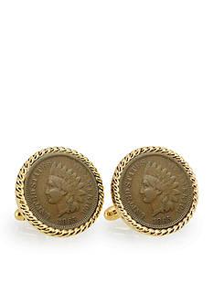 American Coin Treasures Civil War Indian Head Penny Gold Tone Rope Bezel Cufflinks