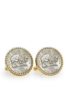 American Coin Treasures 2005 Bison Nickel Gold-Tone Rope Bezel Cufflinks