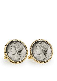 American Coin Treasures Silver Mercury Dime Gold Tone Rope Bezel Cufflinks