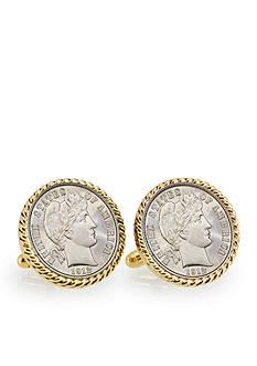American Coin Treasures Silver Barber Dime Gold Tone Bezel Cufflinks
