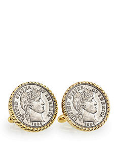 American Coin Treasures 1800's Silver Barber Dime Gold-Tone Rope Bezel Cufflinks