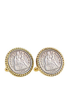 American Coin Treasures Seated Liberty Silver Dime Gold-Tone Rope Bezel Cufflinks