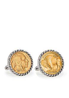 American Coin Treasures Gold- Layered Buffalo Nickel Silver Tone Rope Bezel Cufflinks