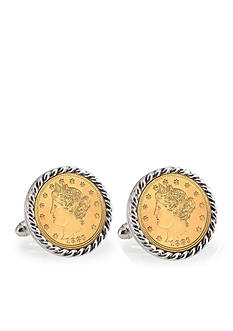 American Coin Treasures Gold Layered Liberty Nickel Silver Tone Rope Bezel Cufflinks