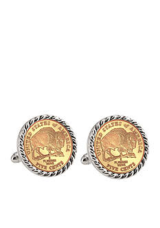 American Coin Treasures Gold Layered 2005 Bison Nickel Silver-Tone Rope Bezel Cufflinks