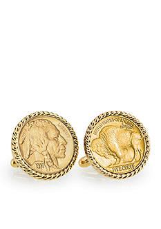 American Coin Treasures Gold-Layered Buffalo Nickel Gold Tone Rope Bezel Cufflinks