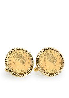 American Coin Treasures Gold Layered Liberty Nickel Gold Tone Rope Bezel Cufflinks