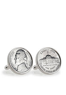 American Coin Treasures Silver Jefferson Nickel Wartime Nickel Sterling Silver Cufflinks