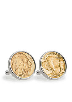 American Coin Treasures Gold Layered Buffalo Nickel Sterling Silver Cufflinks