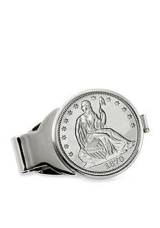 American Coin Treasures Silver Seated Liberty Half Dollar Silver-Tone Money Clip