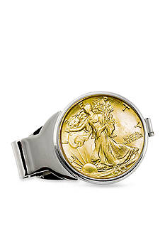 American Coin Treasures Gold-Layered Silver Walking Liberty Half Dollar Money Clip