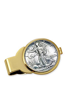 American Coin Treasures Silver Walking Liberty Half Dollar Gold-Tone Money Clip