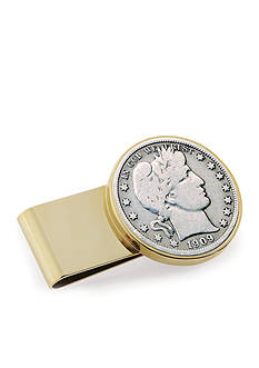 American Coin Treasures Silver Barber Half Dollar Stainless Steeel Gold-Tone Money Clip
