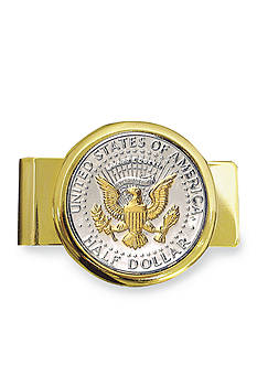 American Coin Treasures Selectively Gold Layered Presidential Seal JFK Half Dollar Gold Tone Money Clip
