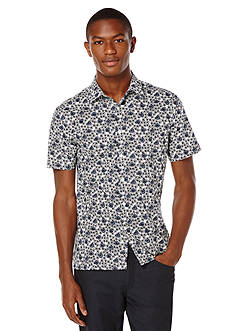 Perry Ellis Big & Tall Short Sleeve Exclusive Flower Print Shirt