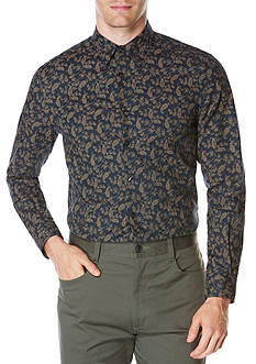 Perry Ellis Long Sleeve Paisley Print Shirt