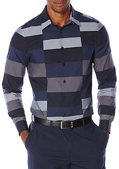 Perry Ellis Slim-Fit Colorblock Stripe Shirt