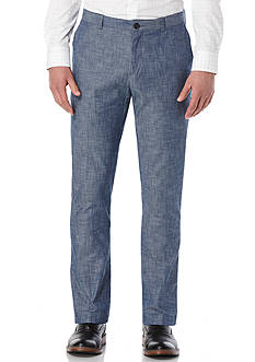 Perry Ellis Slim Fit Chambray Flat Front Pants