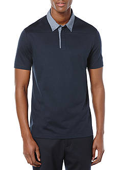 Perry Ellis Regular Fit Cotton Texture Open Polo Shirt