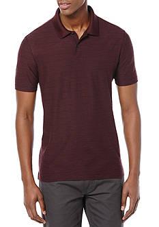 Perry Ellis Short Sleeve Two Button Stripe Pique Polo Shirt