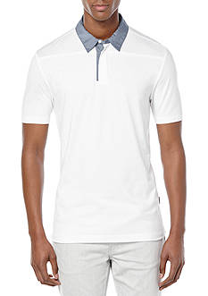 Perry Ellis Pima Contrast-Collar Polo Shirt