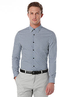 Perry Ellis Long Sleeve Diagonal Print Woven Shirt