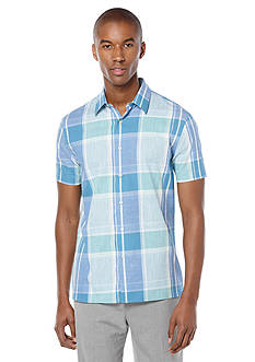 Perry Ellis Large Chambray Plaid Shirt
