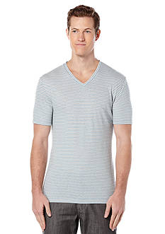 Perry Ellis Linen Blend Striped V-Neck Shirt