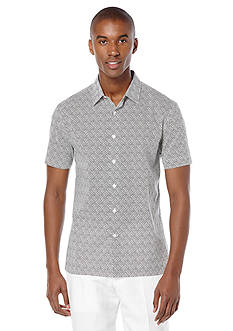 Perry Ellis Short Sleeve Wave Print Woven Shirt