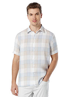 Perry Ellis Short Sleeve Buffalo Check Linen Shirt