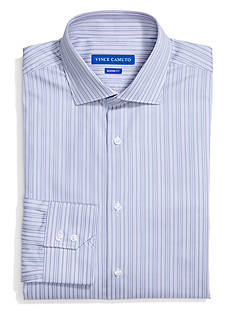 Vince Camuto Fitted Gunmetal Satin Stripe Spread Dress Shirt
