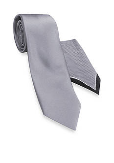 Haggar Extra Long Solid Polyester Tie & Pindot Pocket Square Set